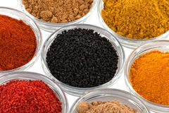 Several indian spices in glass bowls bowl Royalty Free Stock Images