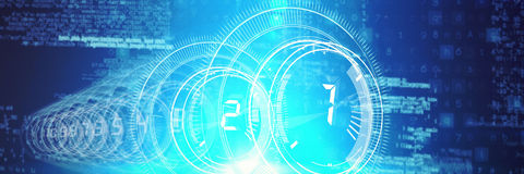 Several interface dial with numbers in dark blue background with light blue radiance Stock Photos