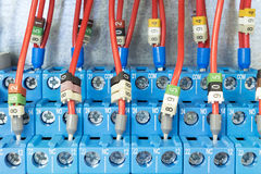 Several intermediate relay blue wires are connected according to the scheme. The relay is mounted on the rail on the circuit Board Stock Photo