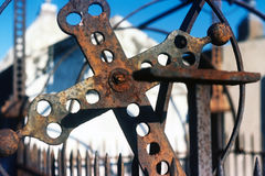 Several iron crosses and tower, New Orleans. Folk art crosses and a corroded central tower in New Orleans cemetery Stock Photography