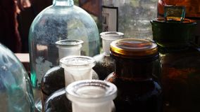 Jars and bottles of herbs stock footage