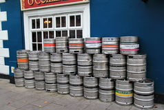 Several kegs set outside popular pub,Pat Collins Bar,Adare,Ireland,October,2014 Royalty Free Stock Photos