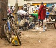 Kenyan car mechanics welding at street Royalty Free Stock Image
