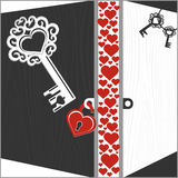 Keys, lock and open doors with hearts Royalty Free Stock Photo