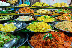 Several kind of buffet dinner in local market in Lao Royalty Free Stock Images