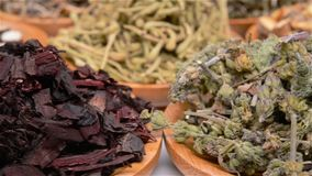 Several kind of Chinese herb medicine mixed rotating and pause. Side view several kind of Chinese herb medicine mixed rotating and pause stock video footage