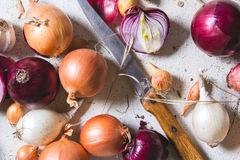 Several kinds of different onion bulbs lying on an old wooden table painted in white. Royalty Free Stock Photography