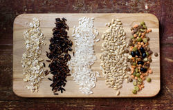Several kinds of grains Stock Photo