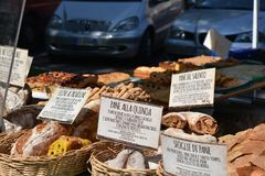 Several kinds of Italian regional bread on sale. royalty free stock photos