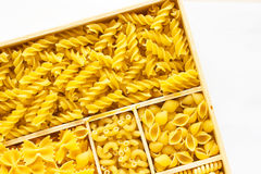Several kinds of of pasta in a box Stock Photos