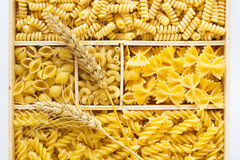 Several kinds of pasta in a wooden box. Two sprigs Royalty Free Stock Photography