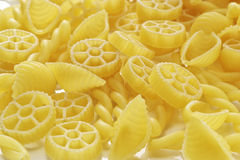 Several kinds of pastas. Photoed in background white Royalty Free Stock Photography