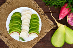 Several kinds of radish sliced on a white plate on a dark wooden background. Royalty Free Stock Photo