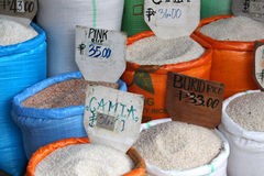 Several kinds of rice for sale on the Philippine market Stock Images