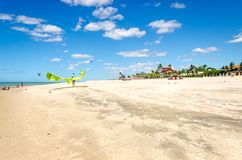 Several kite surfing on the air at the Cumbuco. Cumbuco, Brazil, jul 9, 2017: Several kite surfing on the air at the Cumbuco beach in Ceara Stock Image