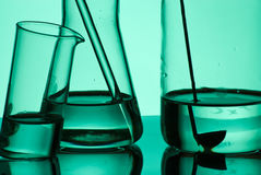 Several  laboratory flasks Royalty Free Stock Photo