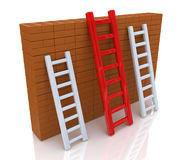 Several ladders with different length leaning the  Stock Photo