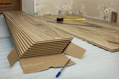 Several of laminated panels, imitation oak Stock Images