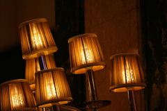 Several lamps lighting in the dark Royalty Free Stock Image