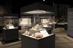 Several large glass and metal cases with minerals,State Museum,Albany,2016 Stock Photography