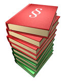 Several law-books, red and green stock images
