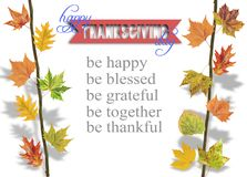 Several leaves hanging on tree branch and thanksgiving. Close stock image