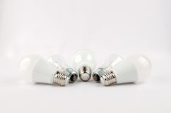 Several LED energy saving light bulbs over the old incandescent, use of economical and environmentally friendly light Royalty Free Stock Photography