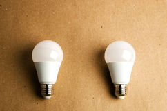 Several LED energy saving light bulbs use of economical and environmentally friendly light bulb concept Royalty Free Stock Images