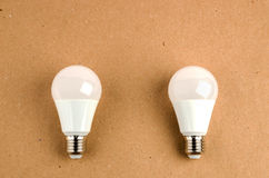 Several LED energy saving light bulbs use of economical and environmentally friendly light bulb concept Stock Photo