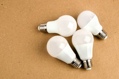 Several LED energy saving light bulbs use of economical and environmentally friendly light bulb concept Royalty Free Stock Photos