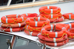 Several lifebuoy. Details of several lifebuoy on top of a boat Royalty Free Stock Photos