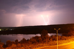 Several lightning into the ground Royalty Free Stock Photo
