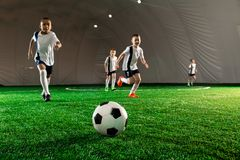 Ball on pitch. Several little football players running sfter soccer ball down green field royalty free stock photos