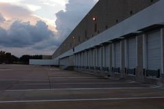Evening at the warehouse loading dock royalty free stock photos