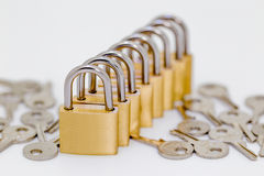 Several locks in a row Stock Images