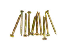 Several long wood screws Stock Images