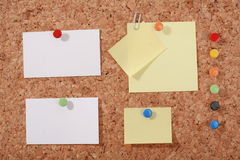 Several message papers pinned to cork board Royalty Free Stock Photo