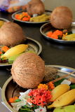 Several metal dishes with variety of seasonal fruit Royalty Free Stock Photography