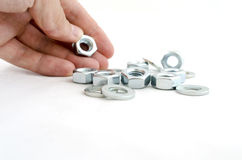 Several metal screw washers and nuts Stock Images