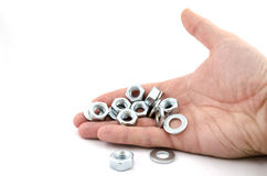 Several metal screw washers and nuts Royalty Free Stock Photography
