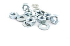 Several metal screw washers and nuts Stock Photo