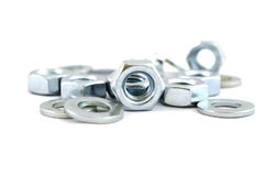 Several metal screw washers and nuts Royalty Free Stock Photos