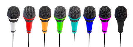 Several microphones aligned and colored. Microphones stand up vector illustration
