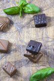 Several milk and dark chocolate candies with basil on wooden background Royalty Free Stock Photos