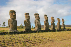 Several moai taken at Ahu Akivi on Easter Island. In the Pacific stock photos