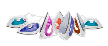 Several modern electric steam iron Royalty Free Stock Photo