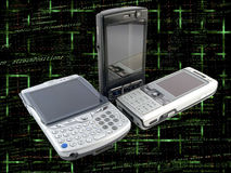 Several Modern Mobile Phones over Code Stock Photography