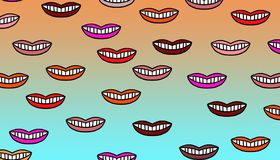 Colorful mouths pattern. Several mouths of different colors of the same size placed without particular order on a warm background Stock Images