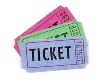 Several movie or raffle tickets, close up, white background, different colors Stock Images