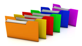 3d file folder. Several multi-colored file folders on white background in 3d Royalty Free Stock Photography